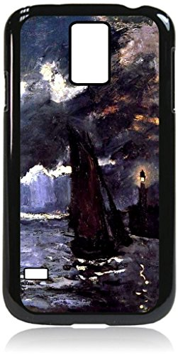Claude Monet's Seascape- Night Effect- Hard Plastic Case with PU Leather and Inner Suede Window View Flip Cover - for the Samsung Galaxy s5 - Window Faux Seascape