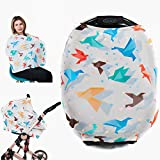 Premium Soft - Baby Car Seat Covers - Nursing Breastfeeding Cover Scarf, Shopping Cart, Stroller Cover, Car Seat Canopy for Girls and Boys - Multi-use Stretchy Shawl - Origami by Gufix