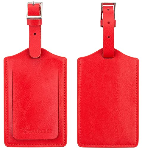 Travelambo Genuine Leather Luggage Bag Tags 2 Pieces Set in 8 Colors
