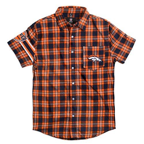 Denver Broncos Wordmark Basic Flannel Shirt - Short Sleeve Extra Large