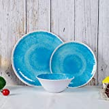 Melamine Dinnerware Set for 4-12pcs Dinnerware Dishes Set for Indoor and Outdoor Use, Dishwasher safe, Blue