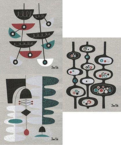 Retro Modern Design - Swedish Dishcloths, Set of 3 Mid-century Modern Designs by Jenn Ski - (Black/Dark Turquoise on Grey)