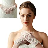 ARTSTORE Bridal Wedding Tulle Gloves,Lace Floral Beads Design Short Wrist Gloves