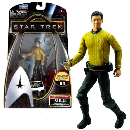 Playmates Year 2009 Star Trek Movie Series Galaxy Collection 4 Inch Tall Action Figure - SULU with Utility Belt, Phaser and Silver Starfleet Emblem Figure Stand Plus Bonus U.S.S Enterprise Bridge Part B4