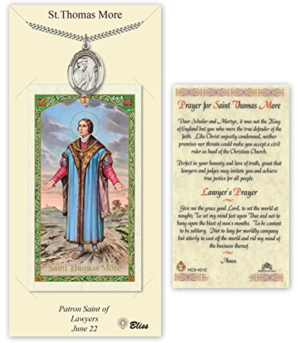 Pewter Saint Thomas More Medal with Laminated Holy Prayer Card