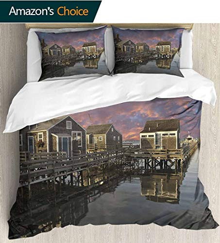 - United States 3 Piece Quilt Coverlet Bedspread,Sunset over Nantucket Massachusetts Dramatic Sky Clouds Pond Houses All Season Lightweight Colorblock Kids Bedding Set 79