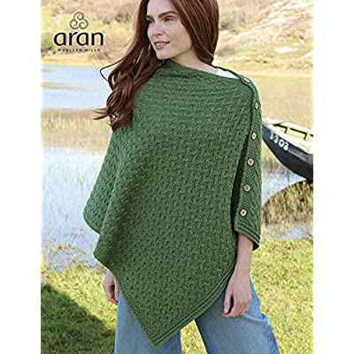 Aran Woollen Mills Supersoft Merino Wool Buttoned Irish Cape/Poncho (Meadow Green) at Women's Coats Shop