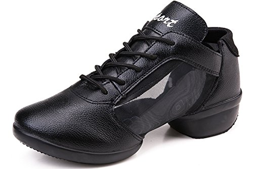 VECJUNIA Ladies Lace-Up Mesh Breathable Dance Trainer Dance Shoes Black rgbhEsGoYB
