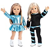 Super Skater - 18 inch doll clothes - 2 complete outfits - 5 pieces - 18 inch doll ice skating outfits - leotard, skirt, pants, jacket and white skates (doll not included)