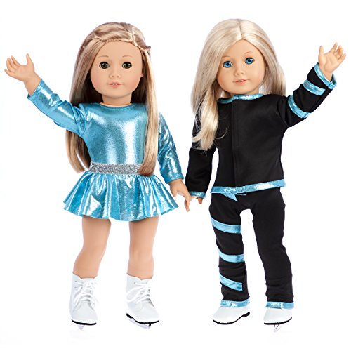 - Super Skater - Clothes Fits 18 Inch American Girl Doll - 2 Complete Outfits - 5 Pieces - 18 Inch Doll Ice Skating Outfits - Leotard, Skirt, Pants, Jacket and 1 Pair of Skates (Doll Not Included)