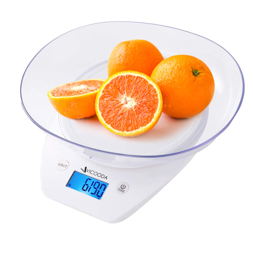 Digital Food Scale, Vicooda Kitchen Scale Electronic Weight Scale Tare Function with Removable Bowl, Baking Cooking Scale 11lbs 5kgs Max, LCD Display, Battery Included, White