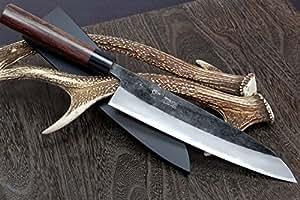 Yoshihiro Mizuyaki azul Kurouchi cocina japonés acero al carbono japonés Shitan mango 9.5In cuchillo de cocinero
