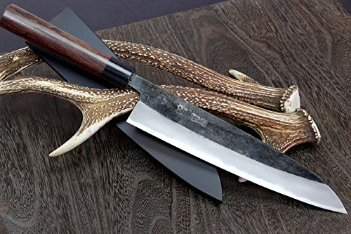 Yoshihiro Mizuyaki Blue High Carbon Steel Kurouchi Gyuto Japanese Chef Knife 8.25in Shitan Handle with Nuri Saya Cover by Yoshihiro