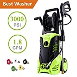 Cheap ncient NIS4500 High Pressure Power Washer 3000 PSI Electric Pressure Washer,1800W Rolling Wheels High Pressure Professional Washer Cleaner Machine+ (5) Nozzle Adapter (3000 PSI-Upgrade Model)