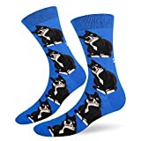 Mens Animal Dress Socks Novelty Cat Animal Design Crazy Black Cat Casual Cotton Socks for Office Sports Party