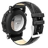 "MoKo Suunto Core Watch Band, Premium Soft Genuine Leather Crocodile Pattern Replacement Strap Wristband Bracelet for Suunto Core Smart Watch, Fits 5.31""-8.27"" (135mm-210mm) Wrist, Black"