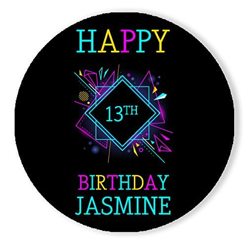Black Light Neon Birthday Party Personalized Round Stickers
