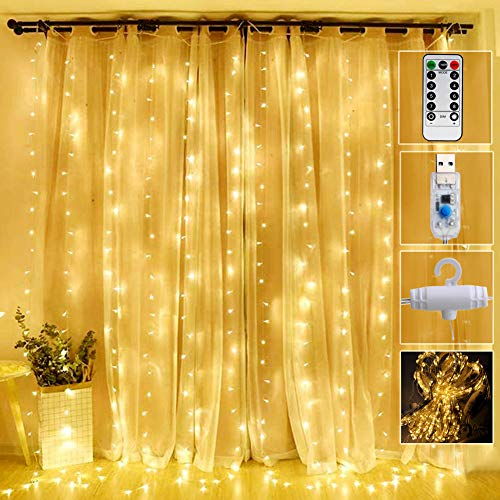 Curtain Lights 300 Led Window Curtain String Light with 8 Modes Remote Control Curtain Fairy Lights USB Powered for Christmas Party Wedding Bedroom Home Garden Window Decor (Warm White)