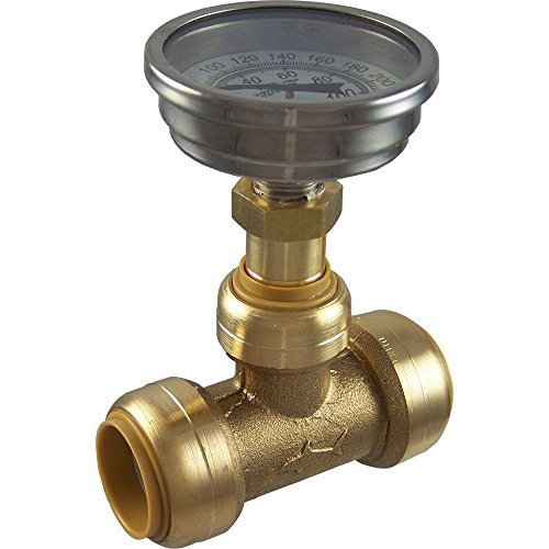 SharkBite 24439 Brass Push-to-Connect Tee with Water Temperature Gauge, 3/4
