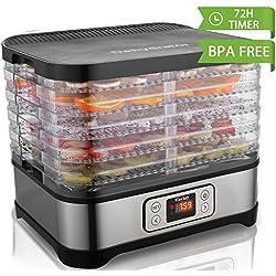 Food Dehydrator Machine Jerky with Timer, Five Tray, LCD Display Screen/BPA Free/250Watt (LCD/250watt)
