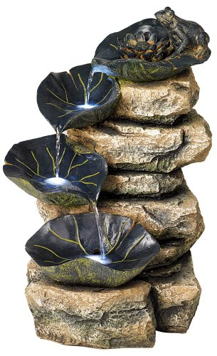 Frog and Four Lily Pad LED Lighted 21″ High Outdoor Fountain