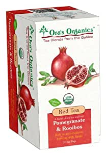 Ora's Organics Red Tea, Pomergranate & Rooibos (Kosher for Passover), 1.59-Ounce Boxes (Pack of 8)