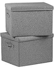 SOYOTA Large Collapsible Storage Bins with Lids [2-Pack] Linen Fabric Foldable Storage Boxes Organizer Containers Baskets Cube with Cover for Home Bedroom Closet Office Nurser