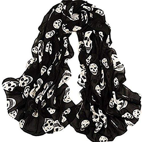 NYKKOLA Girls Skulls Printed Black Long Soft Scarf Shawl, White