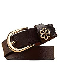 Dertring Retro Belt, Personality Trend Pin Buckle Simple Wild Belt (Color : A, Size : M)