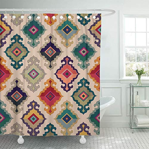 - Emvency Fabric Shower Curtain with Hooks Colorful Turkish Oriental Carpet Antique Ethnic Floral Geometric Mongolian Ornamental 72