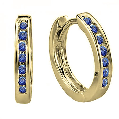 14K Yellow Gold Small Round Blue Sapphire Huggie Hoop Earrings (Gold Natural 14k Sapphire Yellow)