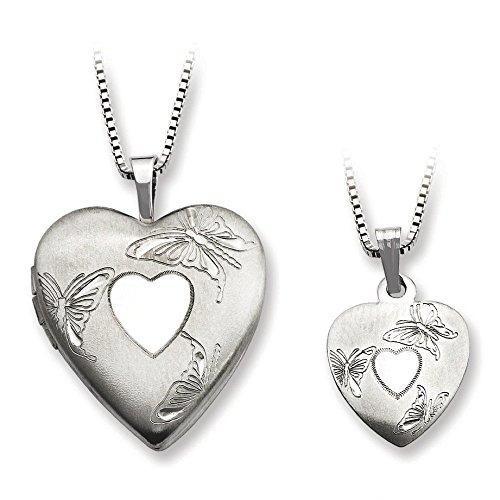 En argent sterling poli et satin papillon Médaillon en cœur et pendentif de