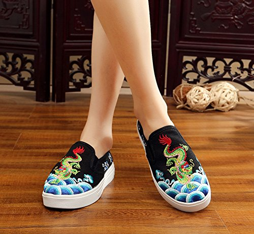 Loafer Embroidery Shoes Black Chinoiserie Dragon Women Flats Sneaker on AvaCostume Slip Ew60qxfU