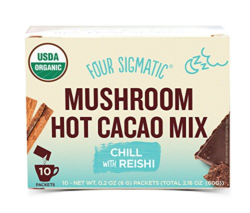 Four Sigmatic Mushroom Hot Cacao with Reishi - USDA Organic Reishi Mushroom Powder - Natural Calm, Relax, Sleep - Vegan, Paleo - 10 Count -