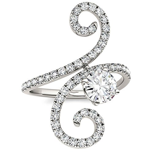 Forever Brilliant Round 6.0mm Moissanite Fashion Swirl Ring-size 7, 1.34cttw DEW by Charles & Colvard