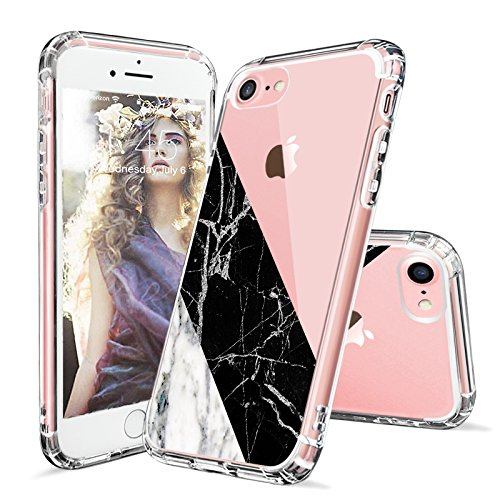 iPhone 7 Case, iPhone 8 Case Clear, MOSNOVO Half Black and White Marble Pattern Clear Design Printed Transparent Plastic Case with TPU Bumper Case Cover for Apple iPhone 7 (2016) - Half Marble