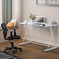 YHG Computer Desk PC Laptop White Glass Table Workstation Office Home Furniture
