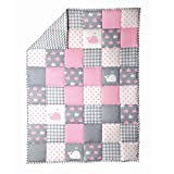 RAJRANG Light Grey Baby Crib Blanket Cot Bedding Cute Fish Pattern Cradle Comforter for Newborn Babies Warm and Soft Toddler Quilt