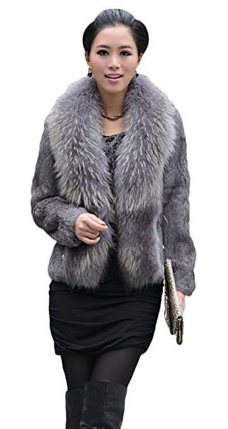 Queenshiny para mujer, 100% Real Rex Abrigo de piel de conejo chaqueta con Super mapache cuello: Amazon.es: Ropa y accesorios