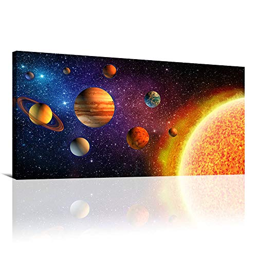 Outer Space Painting Canvas Prints Wall Art Universe Planet Posters Wall Pictures for Living Room Bedroom Kids Boys Room Wall Decorations Framed Artwork Ready to Hang(20x40inx1) (Kids Framed Art)