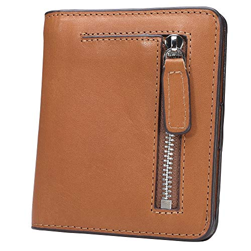 BIG SALE-AINIMOER Women's RFID Blocking Leather Small Compact Bifold Pocket Wallet Ladies Mini Purse with id Window (Vintage Tan)