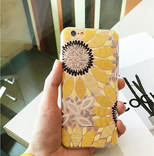 iPhone 8 Flower Case, iPhone 7 Cute Case,LuoMing 3D Emboss Beautiful Flower Pattern Slim fit Shock-Absorbing Soft Rubber Clear TPU Skin Cover Case for iPhone 7/ iPhone 8 (sunflower)