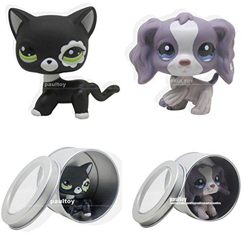 [tongrou 2pcs #2249 #1209 Rare Littlest Pet Shop Black Short Hair Cat Cocker Spaniel Dog] (Jack In The Box Costume Head For Sale)