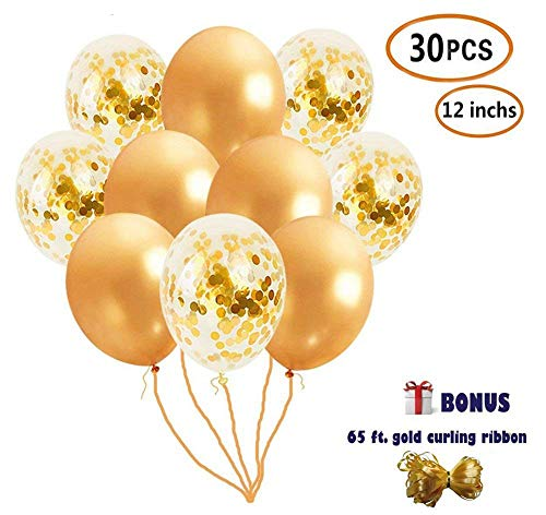Kungfu Mall 30 Pcs 12-inch Gold Confetti Balloons Bridal Shower Decorations, Gold Balloons Ribbons – Perfect Party Decorations, Wedding Decorations
