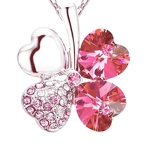 (NEVERMORE Classics Shamrock Four Leaf Clover Crystal Pendant Necklace with Silver-Colored Chain (Pink))