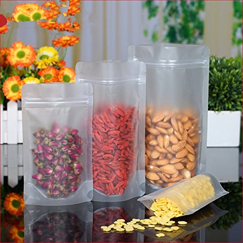 30 Pieces 22x32 cm Matte Clear Stand Up Resealable Poly Plastic Packaging Bags Airtight Stand-Up Transparent Dried Dehydrated Fruit Lemon Food Storage Pouch Closure Snack Spice (Poly Air Bags)