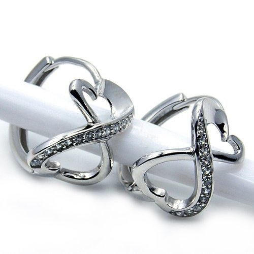 'Infinite Love' Sterling Silver Cubic Zirconia Stud Earrings