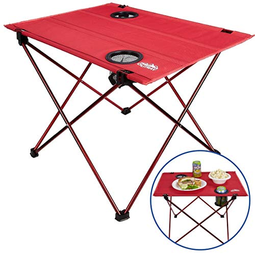 Portable Picnic and Camping Table - Collapsible Accordion Aluminum Frame, Washable Cloth Table Top with Two Cup Holders - Drawstring Carrying Case - Ultra Lightweight - By Outrav