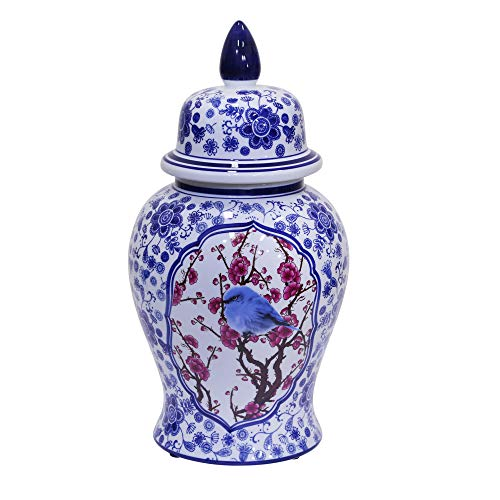 Sagebrook Home 12053-01 Decorative Ceramic Temple Jar, Blue/White/Crimson Ceramic, 9.5 x 9.5 x 18 Inches