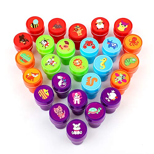 XIAOYAO Stamps for Kids, Party Favors, 26 Pieces Assorted Stamps for Kids Self-Ink Stamps, Easter Party Favor for Kids (Animal B)